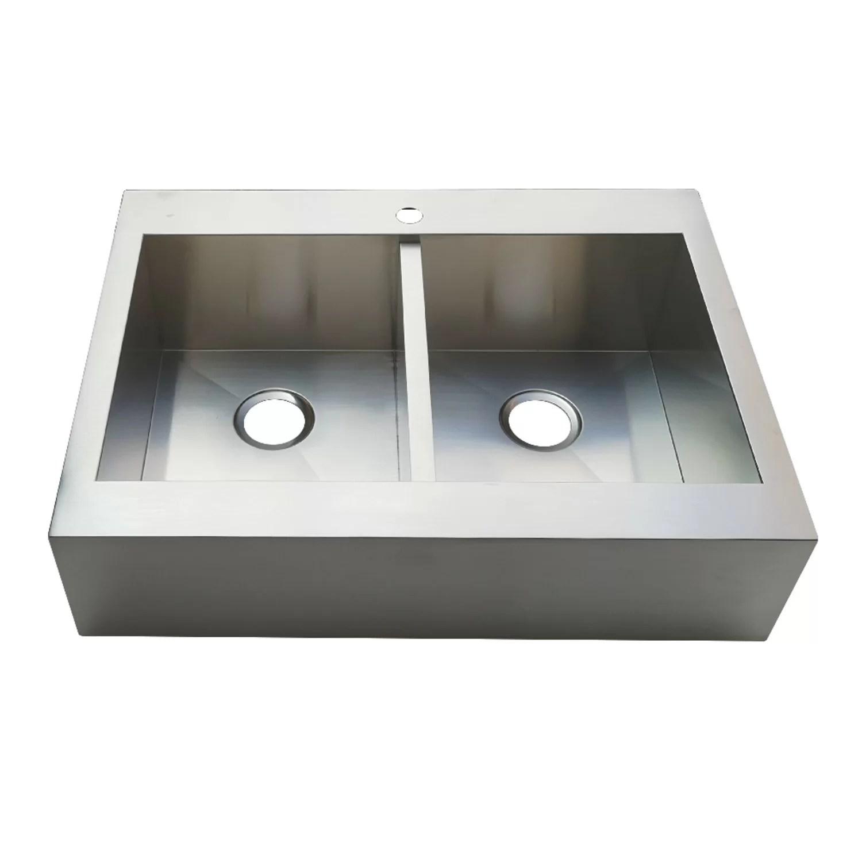 gourmetier 36 l x 24 w double basin drop in kitchen sink