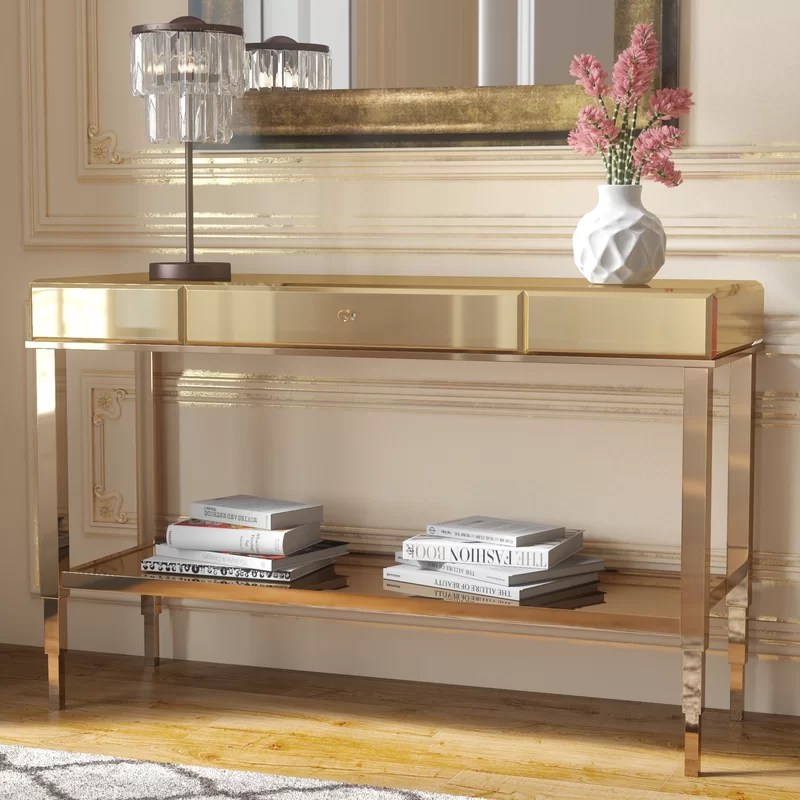 living room console tables mirrored small decorating ideas diy willa arlo interiors calisto table reviews wayfair