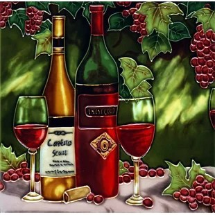 grapes and wine kitchen decor white drop leaf table grape wayfair ca bottle with red tile wall