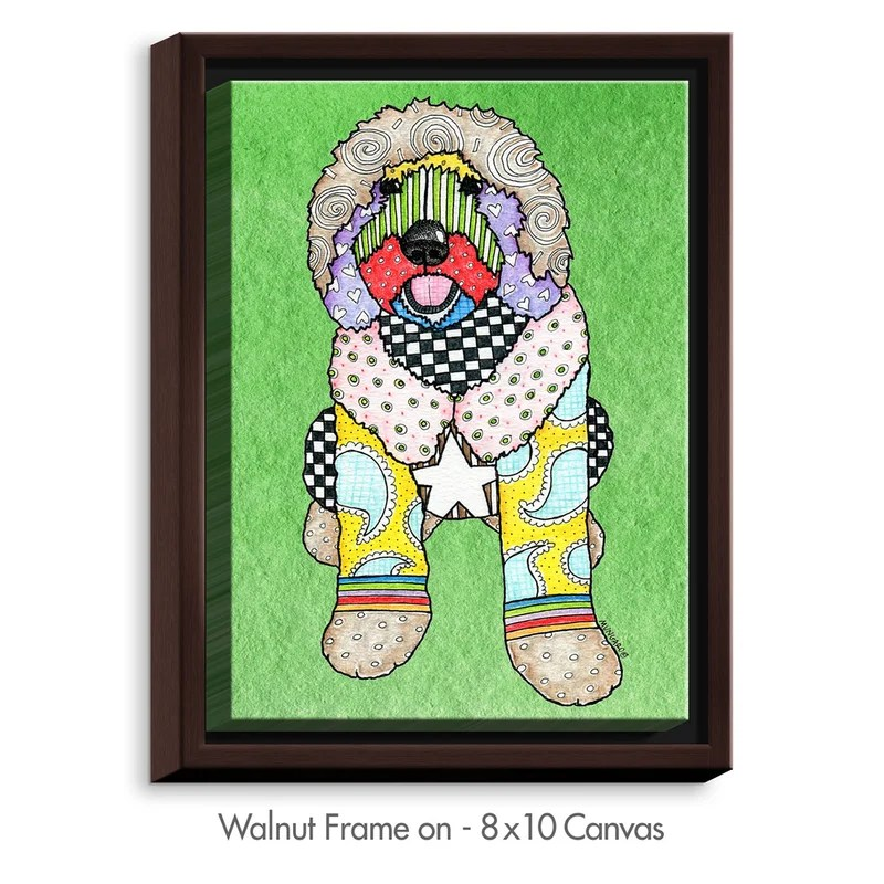 Labradoodle Dog by Marley Ungaro Painting Print on Wrapped Framed Canvas Size: 37.75 H x 25.75 W x 1.75 D Frame Color: Walnut