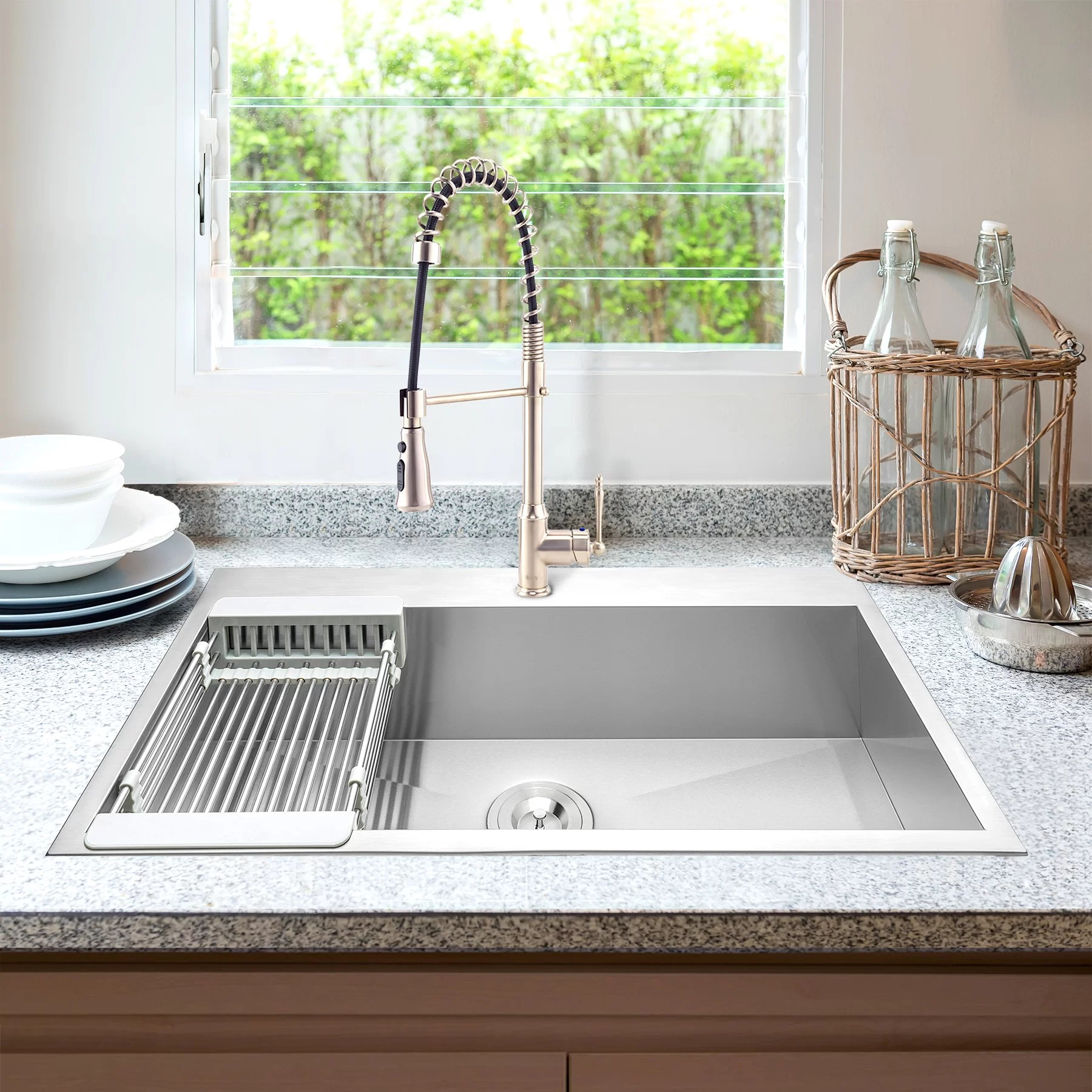 Akdy 30 L X 18 W Drop In Kitchen Sink With Faucet And Basket Strainer Wayfair