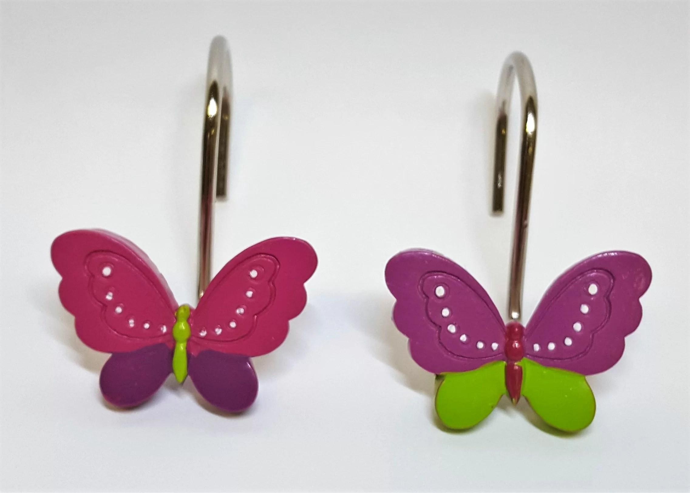 Neon Butterfly Shower Curtain Hooks
