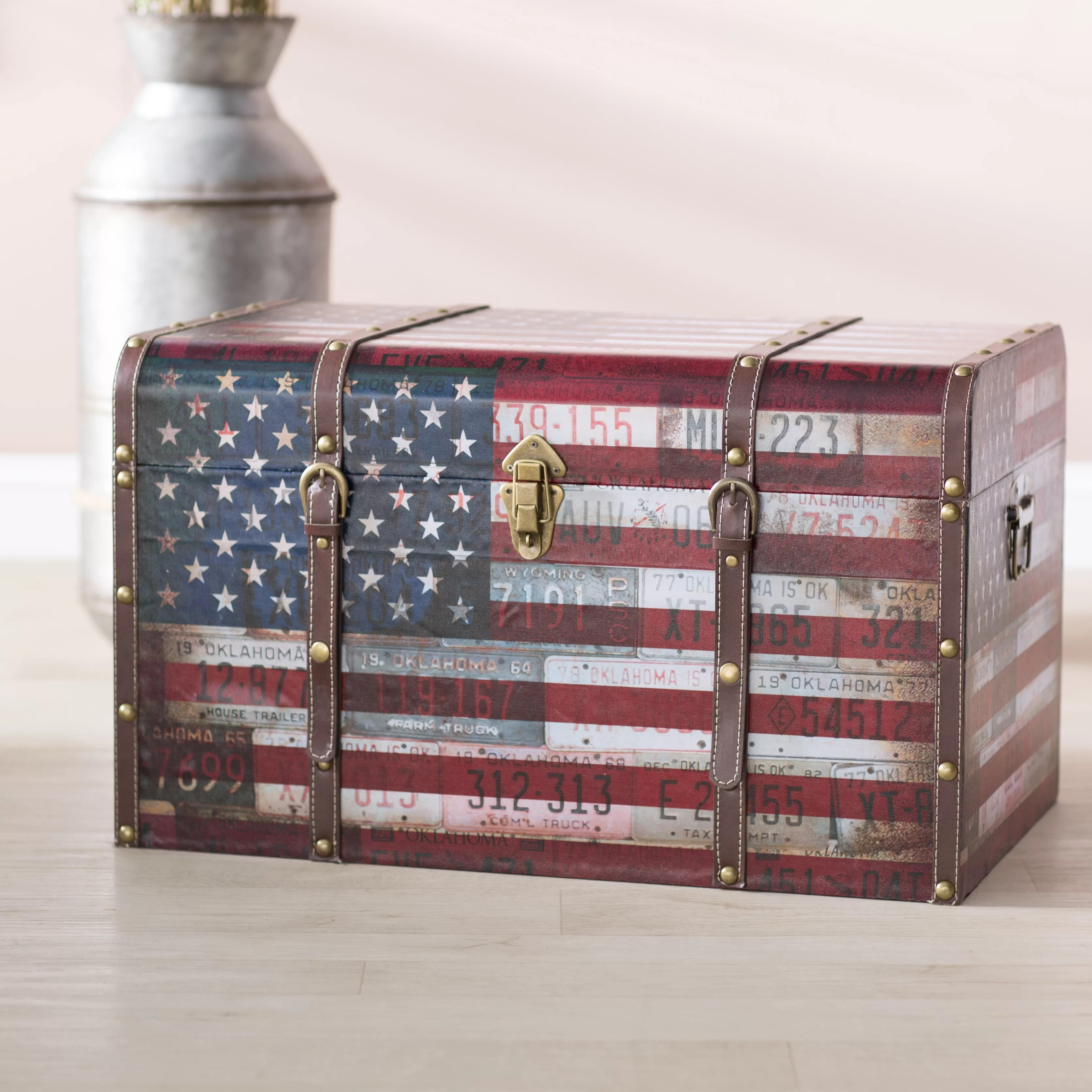 Charlton Home Sumner Americana Decorative Home Storage Trunk Reviews Wayfair