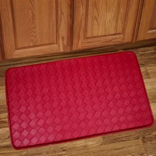 red kitchen rugs small cabinet solid rug wayfair mat