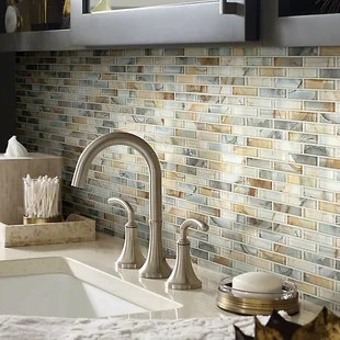 mosaic backsplash kitchen country island find the perfect tile wayfair neptune 1 x 4 glass in gilt