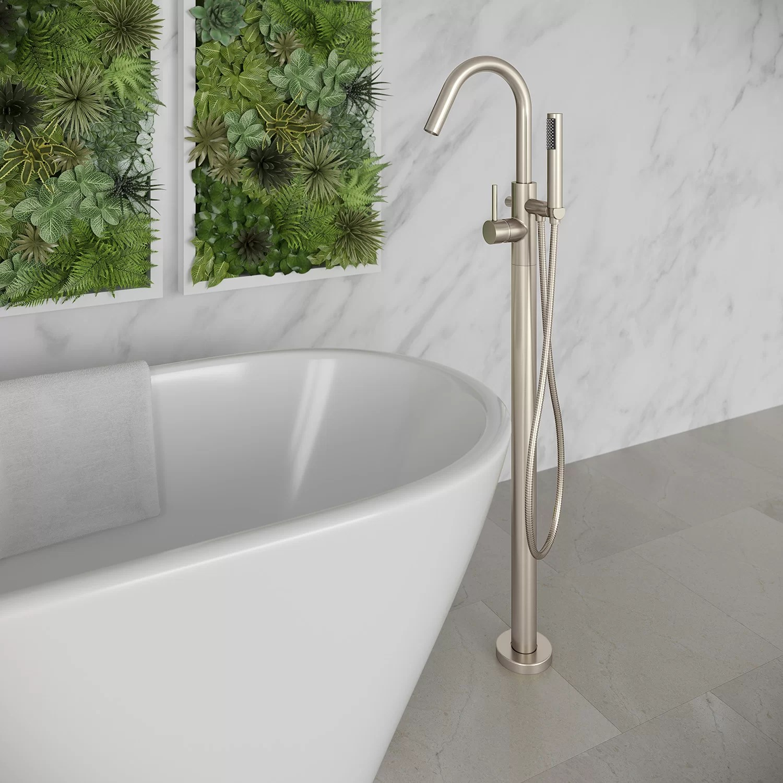 single handle floor mounted freestanding tub filler trim