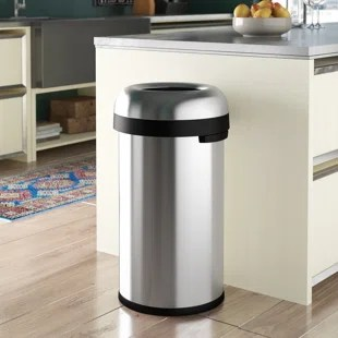 kitchen trash free remodel cans you ll love wayfair ca 16 gallon bullet open can heavy gauge brushed stainless steel