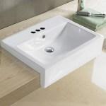 American Imaginations Semi Recessed Center Drilling Ceramic Rectangular Vessel Bathroom Sink With Overflow