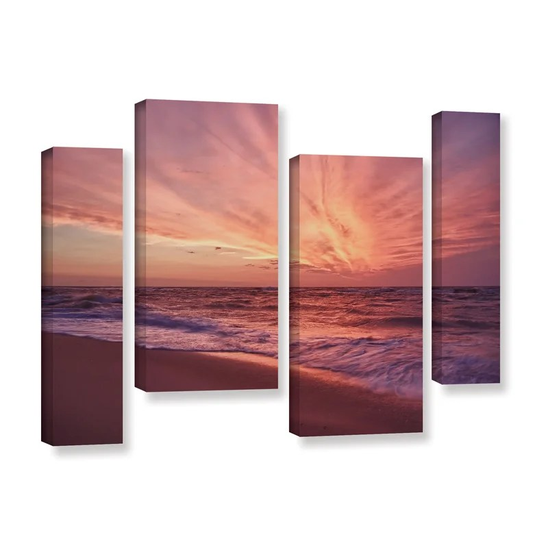 Outer Banks Sunset Iii by Dan Wilson 4 Piece Photographic Print on Wrapped Canvas Set Size: 36 H x 54 W x 2 D