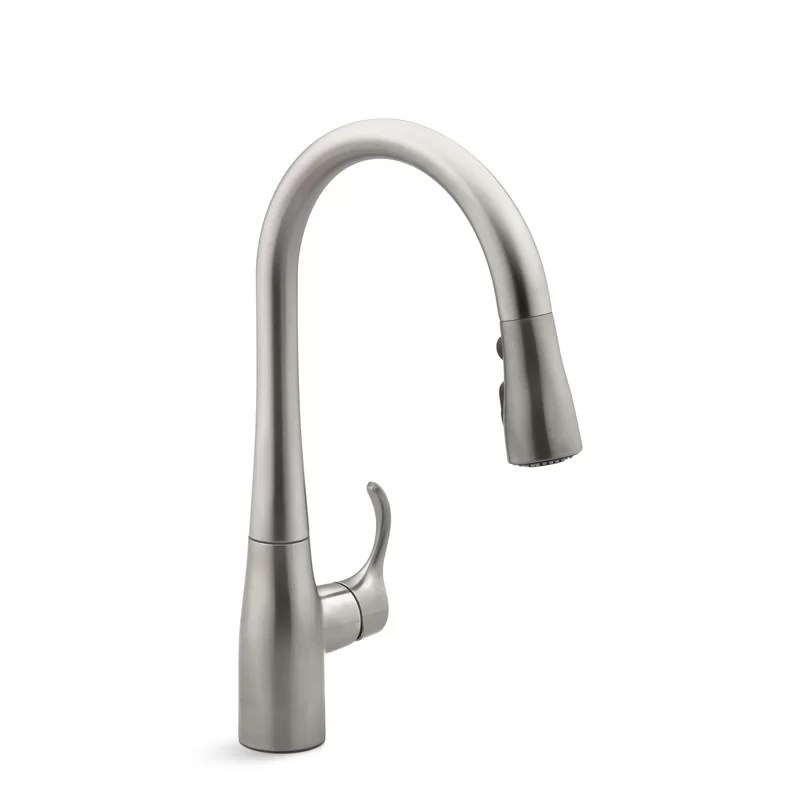 simplice single hole kitchen sink faucet with 15 3 8 pull down spout docknetik magnetic docking system promotion masterclean