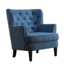 Navy Blue Wingback Chairs Outdoor Patio Wrought Iron Chair Pad Tufted Wayfair Quickview