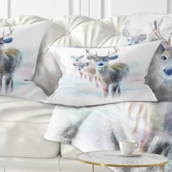 Animal Skin Chair Covers Merits Power Parts 2 Deer Wayfair Beautiful With Big Horns Lumbar Pillow