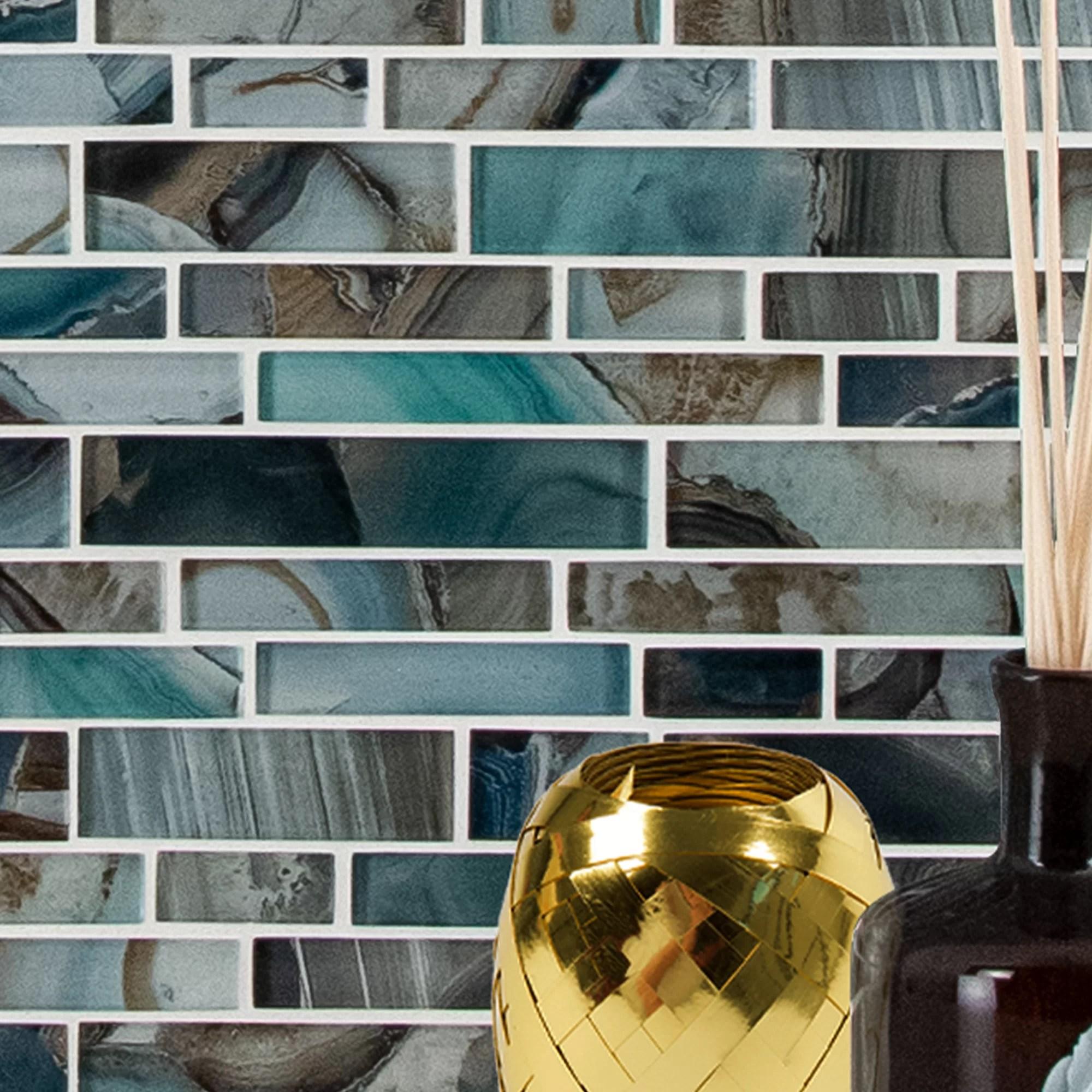 night sky interlocking glass mosaic tile in blue