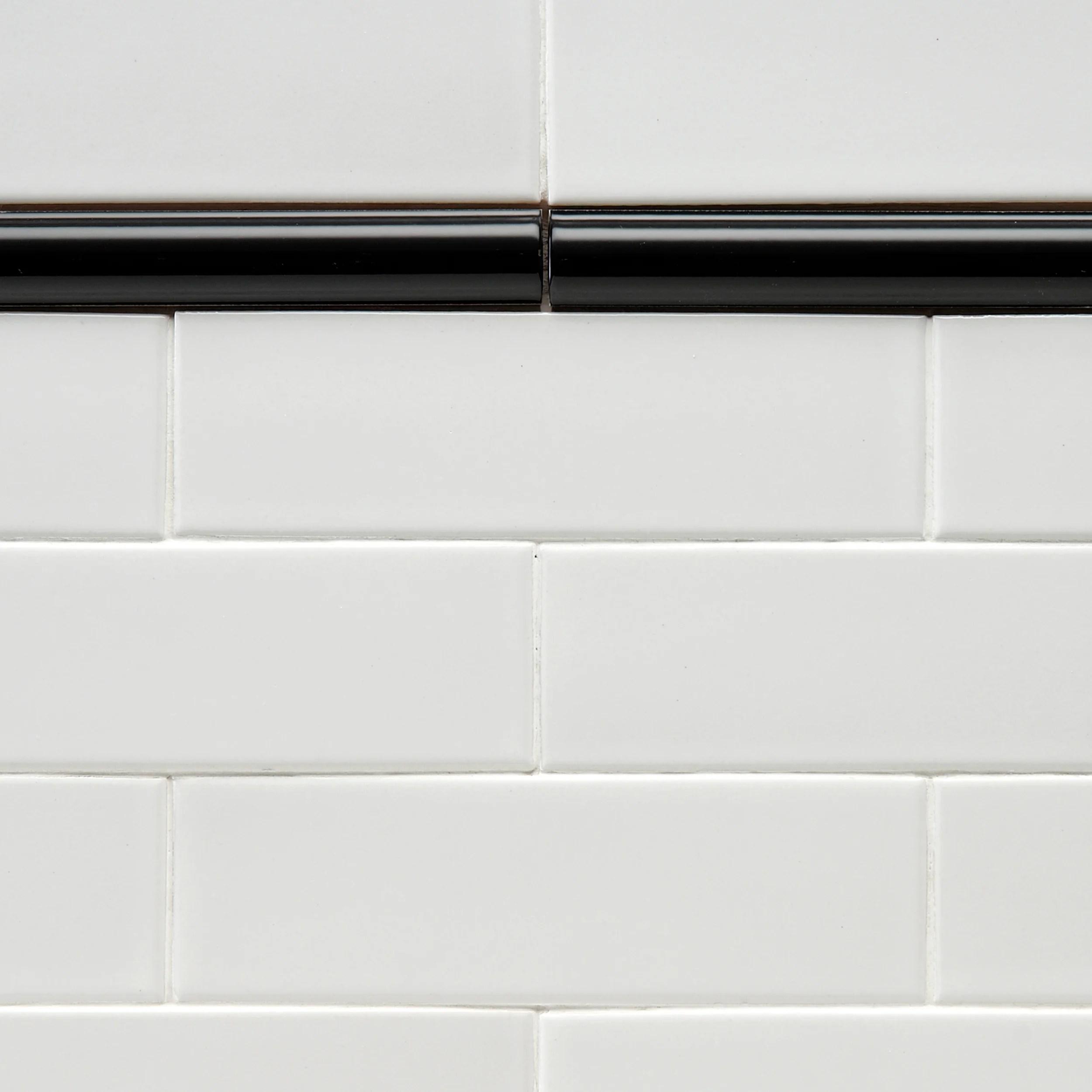 moldura 8 x 1 ceramic pencil tile trim in black