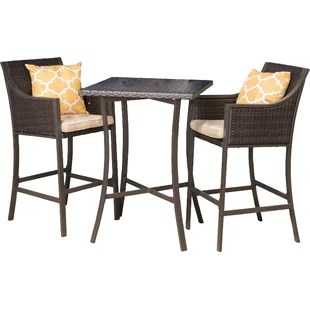outdoor bar table and chairs portable folding floor modern sets allmodern alexa 3 piece height dining set with cushions