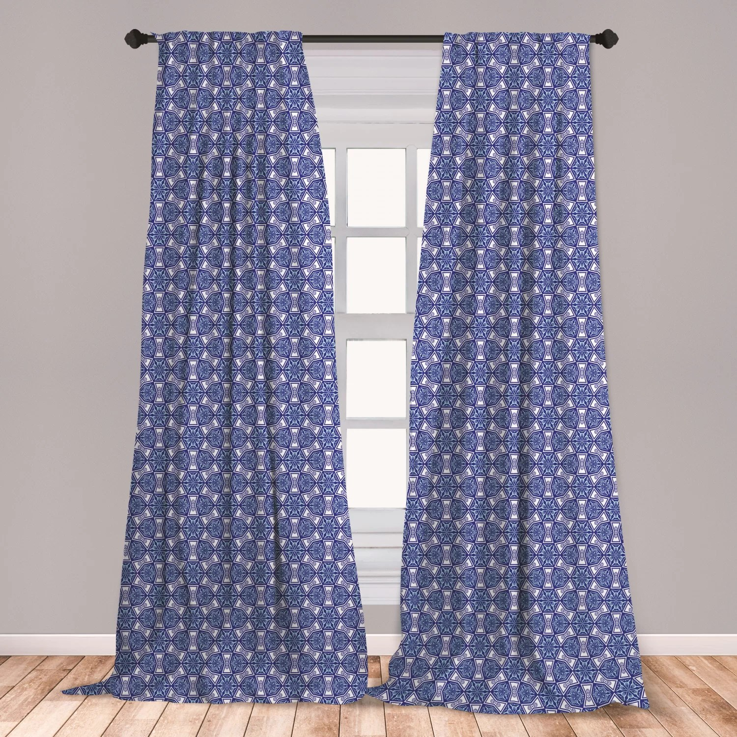 ambesonne turkish pattern window curtains blue and white intricate mosaic inspired by art lightweight decorative panels set of 2 with rod pocket