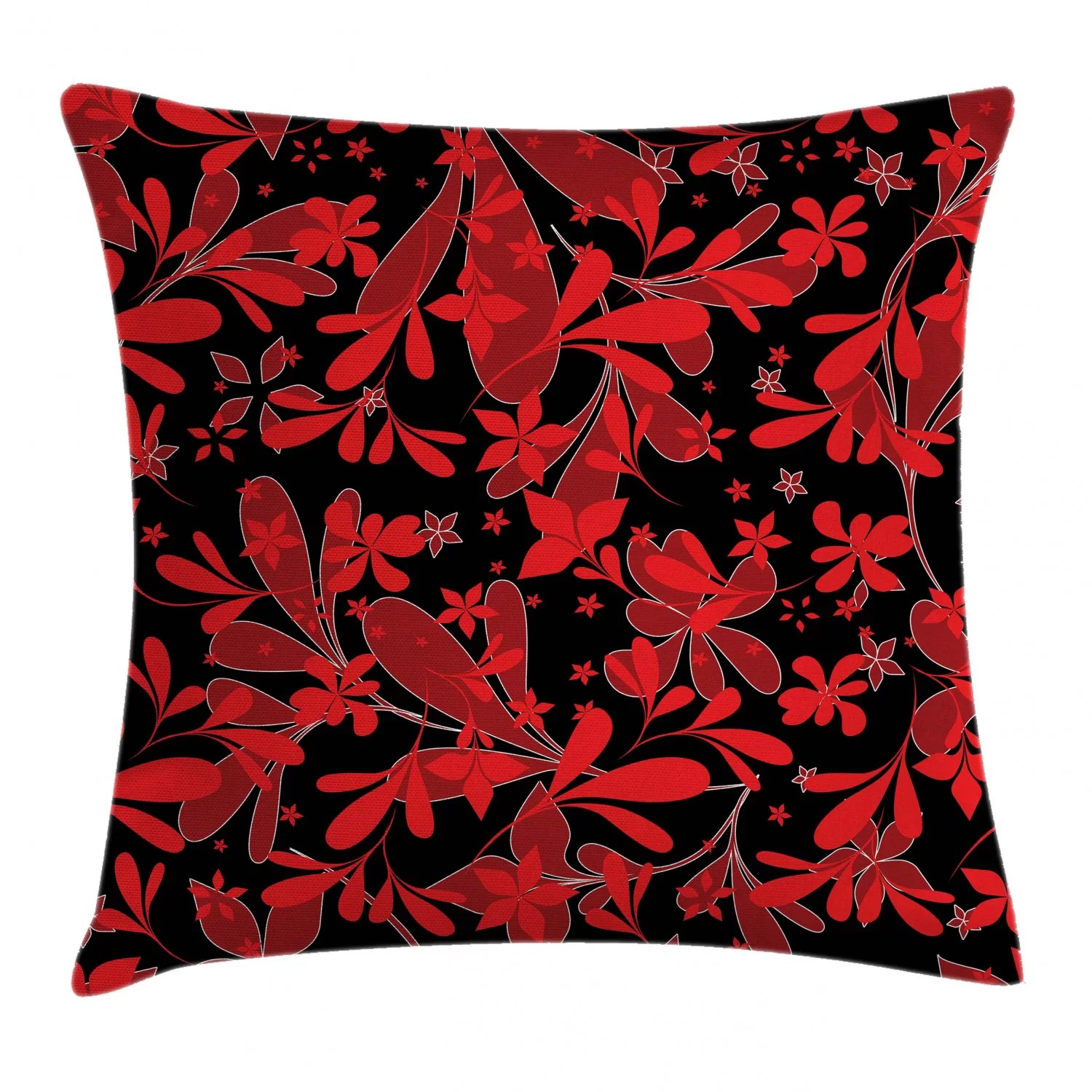 red and black indoor outdoor floral 36 throw pillow cover