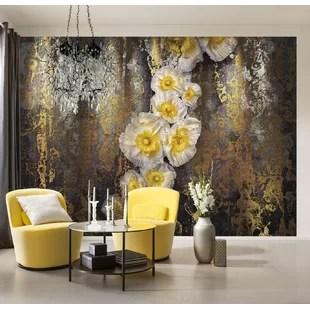 wallpaper living room wall furniture canadian tire bathroom you ll love wayfair co uk serafina 3 68m l x 254cm w floral and botanical tile panel mural