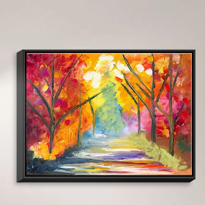The Road Less Traveled by Jessilyn Park Painting Print on Wrapped Framed Canvas Size: 13.75 H x 17.75 W x 1.75 D Frame Color: Black