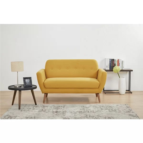 Corrigan Studio Mid Century Loveseat Linen Upholstered Couch For Living Room Bedroom Office Light Grey Soft Fabric Sofa With Tufted Button Comfortable Furniture With Wood Legs Suitable For Small Spaces Wayfair Ca