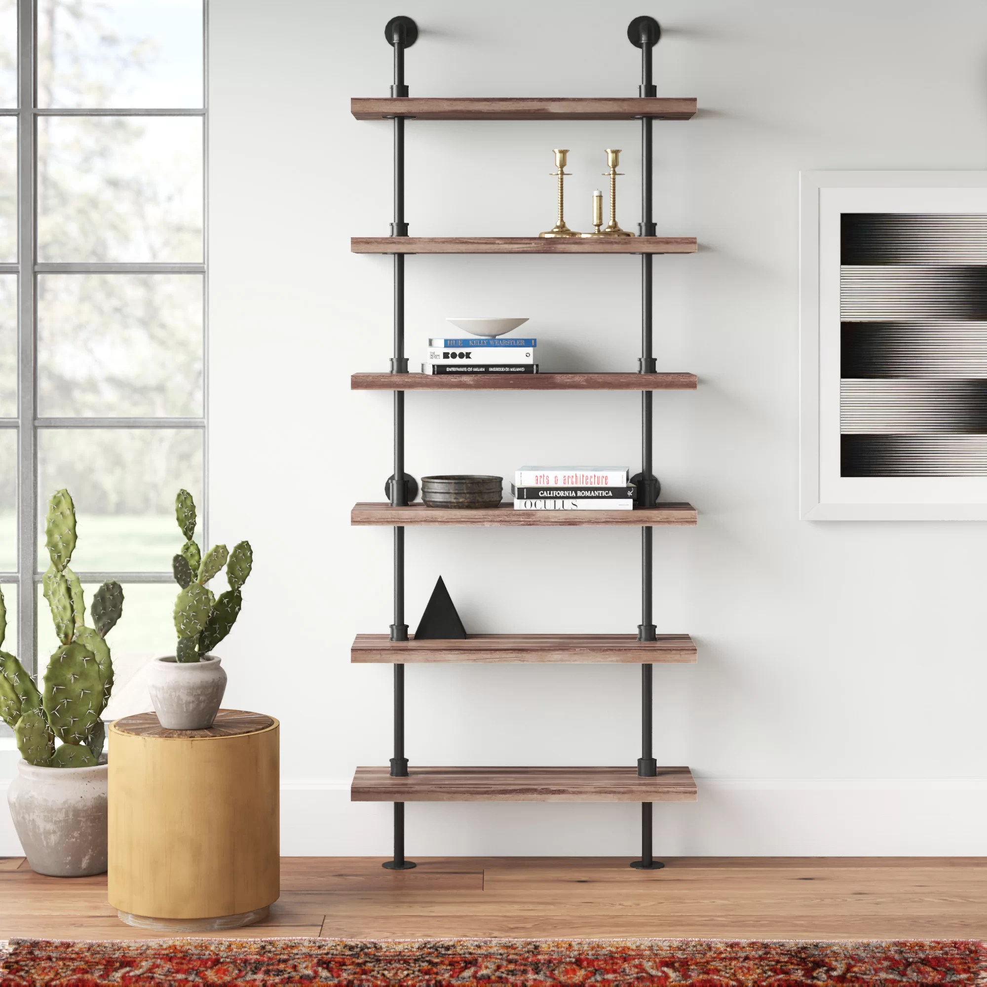 Edwa Iron Pipe Wall Mount Ladder Bookcase
