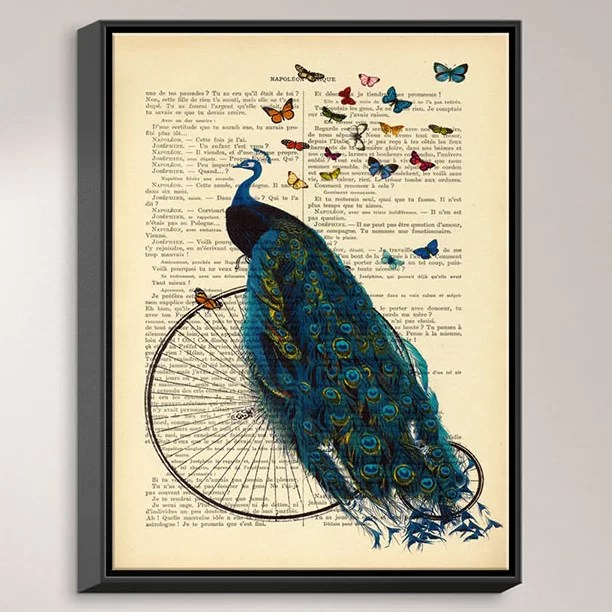 Peacock Bicycle Butterflies by Madame Memento Graphic Art on Wrapped Framed Canvas Size: 15.75 H x 12.75 W x 1.75 D Frame Color: Black