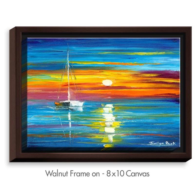 Lost at Sea by Jessilyn Park Painting Print on Wrapped Framed Canvas Size: 31.75 H x 41.75 W x 1.75 D Frame Color: Walnut