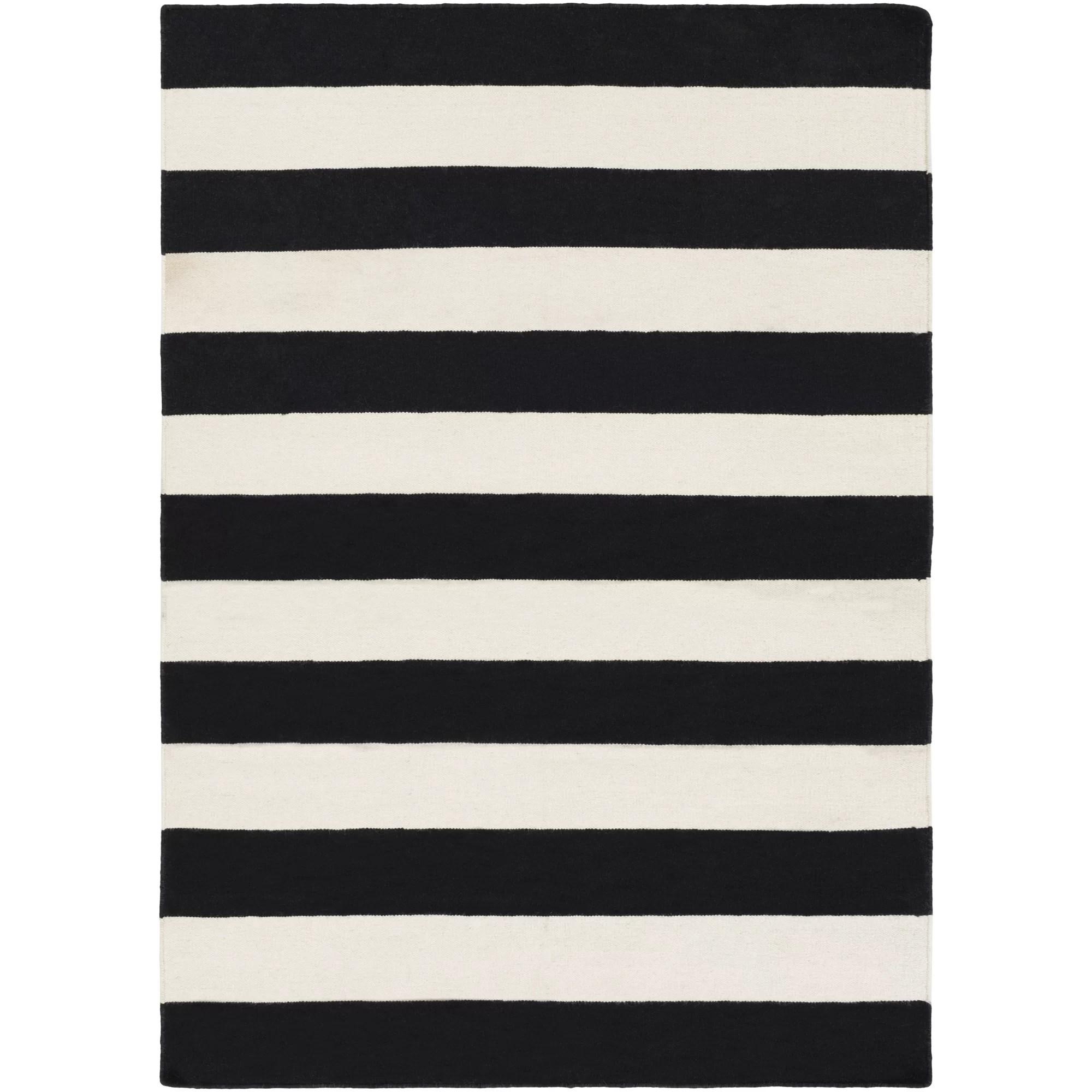 Breakwater Bay Stonebridge Hand Woven Wool Black White Area Rug Reviews Wayfair
