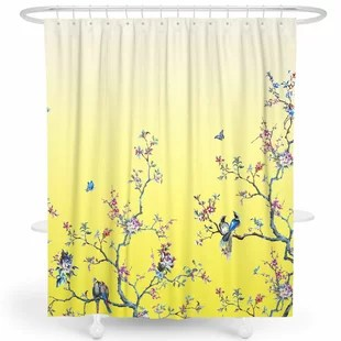 teal yellow gold shower curtains