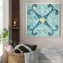 Bungalow Rose 'garden Getaway Tile Iii Teal' Watercolor