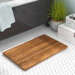 Beachcrest Home Felton Rectangle Teak Wood Non Slip Bath Rug Reviews Wayfair