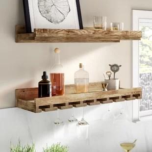 bernon solid wood wall mounted wine glass rack