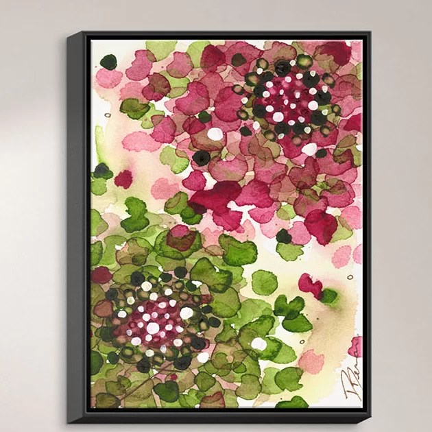 Hydrangea by Dawn Derman Painting Print on Wrapped Framed Canvas Size: 21.75 H x 17.75 W x 1.75 D Frame Color: Black