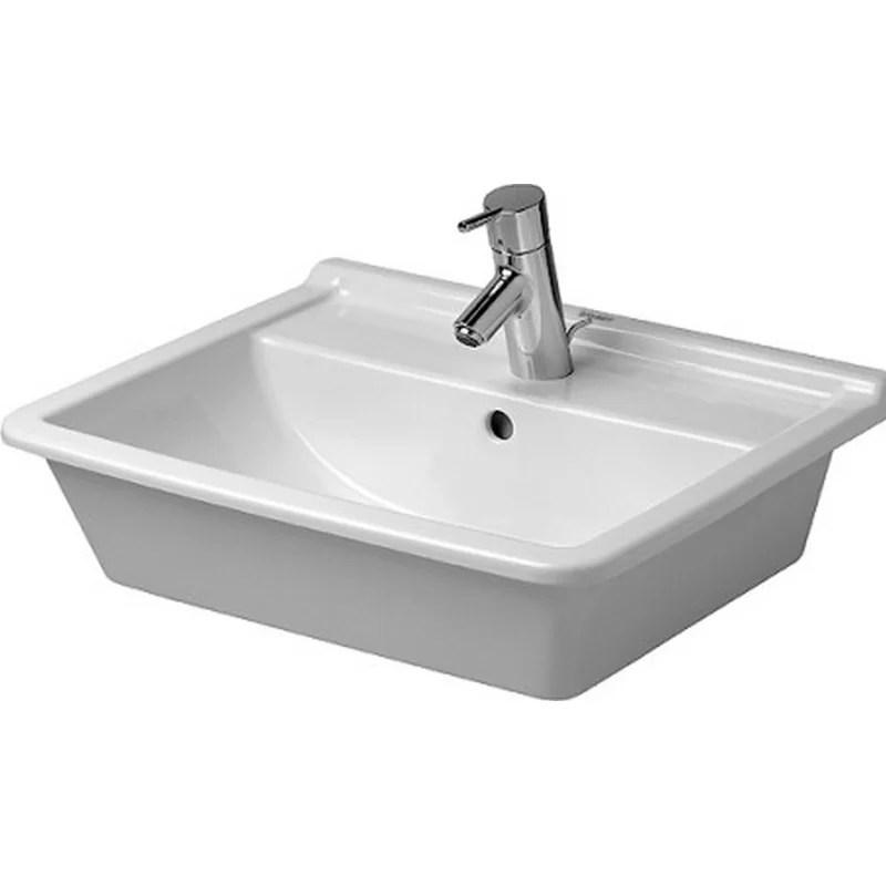 Starck Ceramic Rectangular Drop-In Bathroom Sink with Overflow