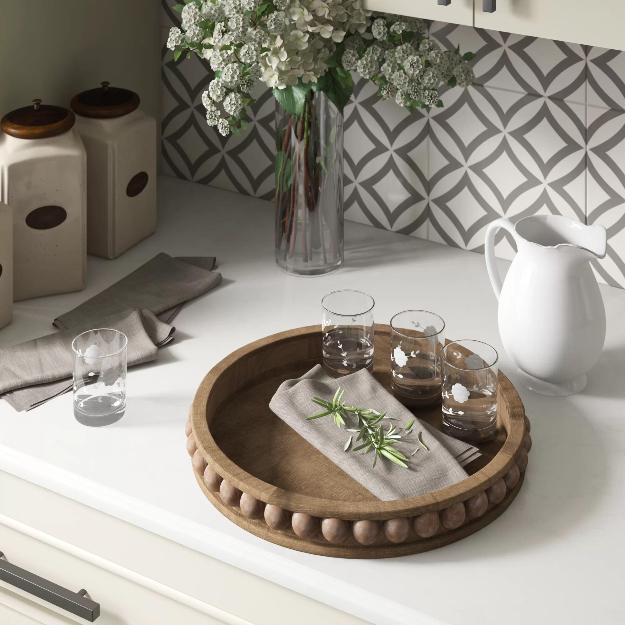 crofton round wood coffee table tray