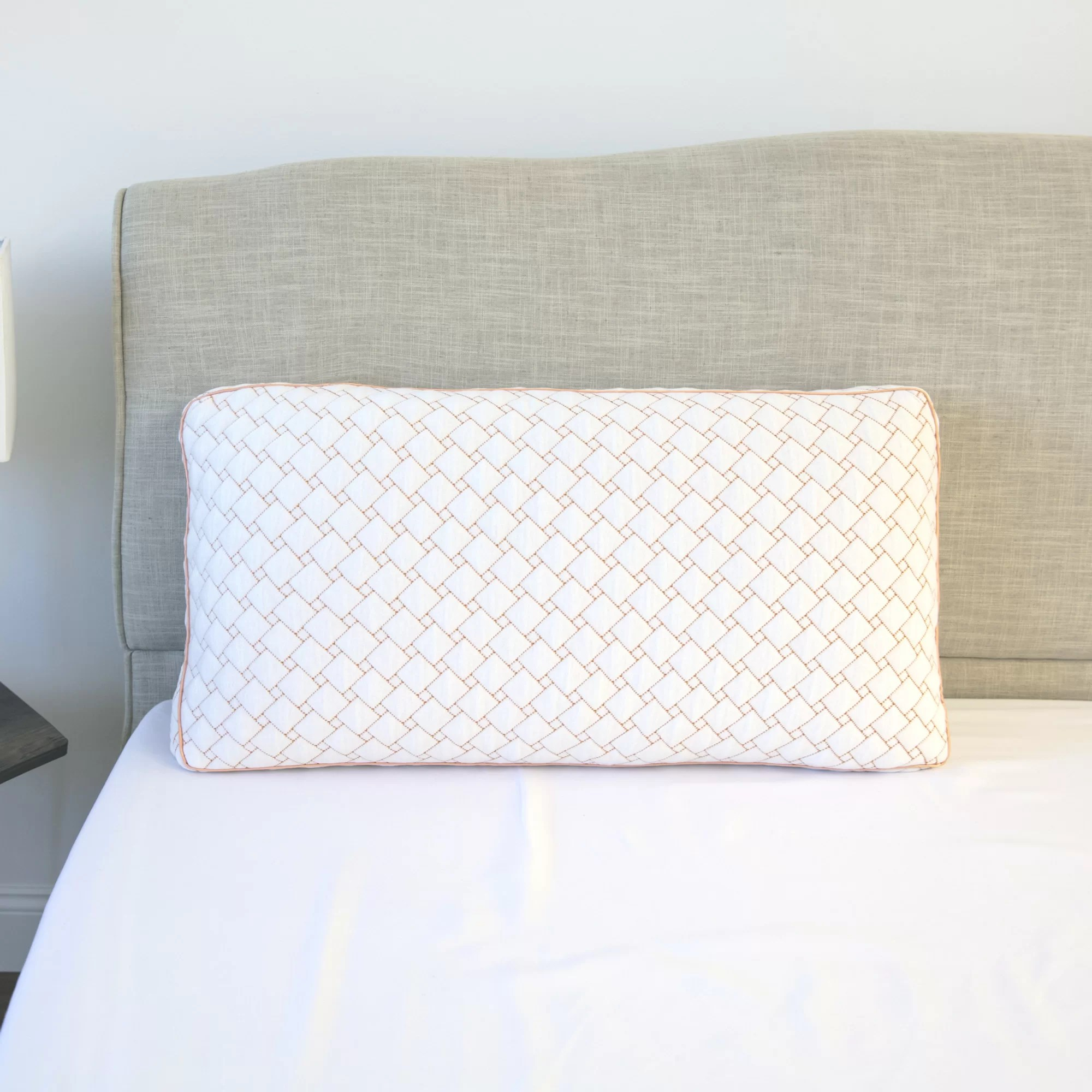 gel infused memory foam cluster jumbo bed pillow with copper infused cover