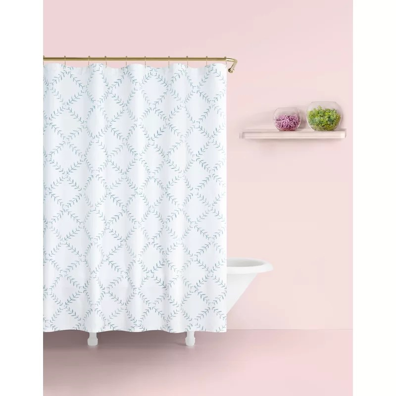 fern 100 cotton geometric single shower curtain