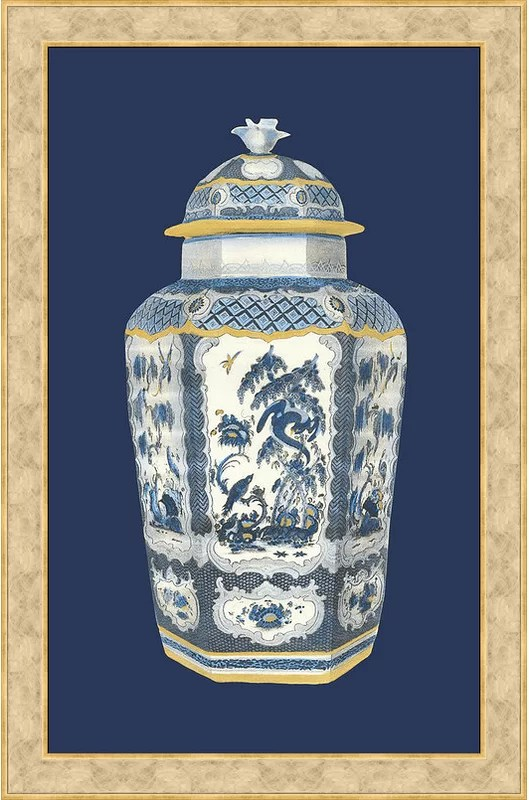Trends Asian Urn in Blue and White II Framed Graphic Art