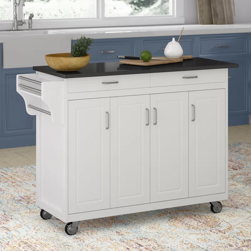 Wayfair Kitchen Cart Ebern Designs Kutztown Kitchen Island With Manufactured Wood Top Reviews Wayfair If You Live In An Apartment With A Kitchen Better Suited For A Dollhouse Than Actual
