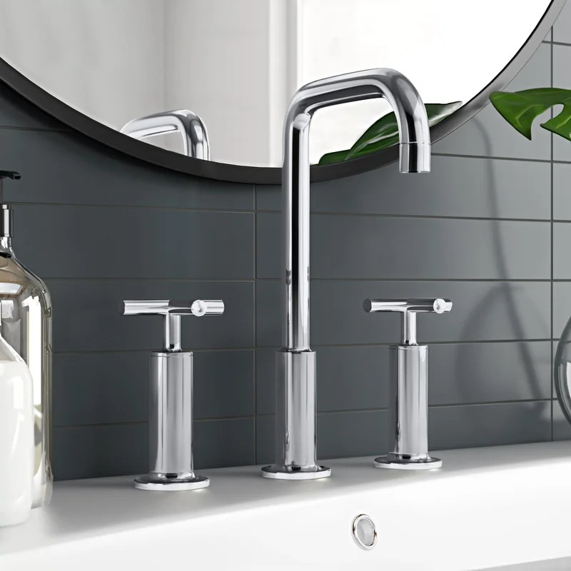 purist widespread bathroom sink faucet with high cross handles and high gooseneck spout