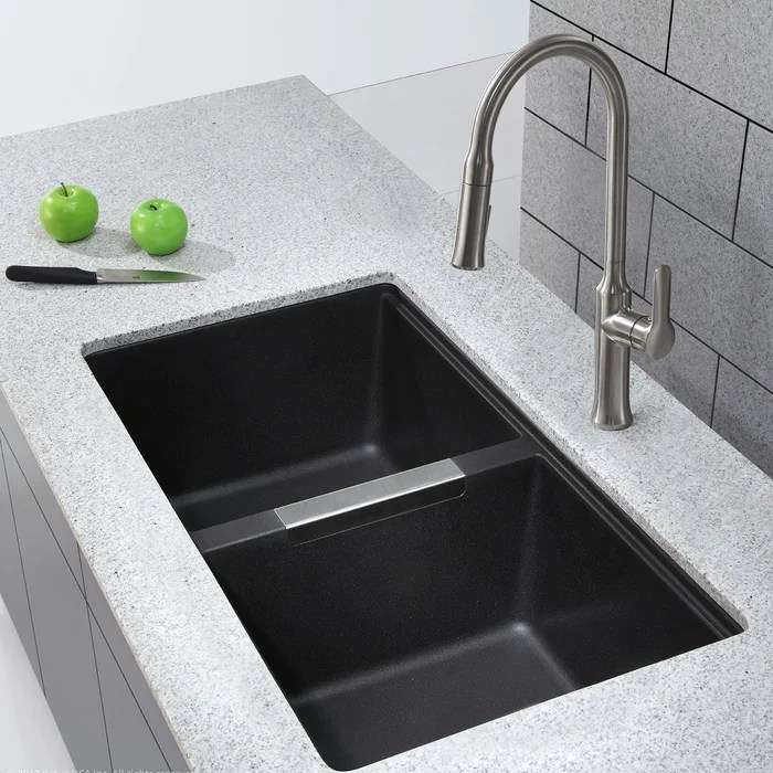 buy undermount kitchen sink double basin kraus 32 5 l x 18 88 w reviews wayfair ca