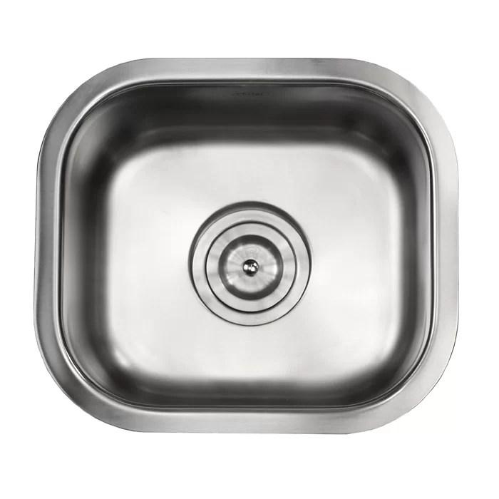 undermount single bowl kitchen sink navy cabinets emodern decor ariel pearl 13 l x 15 w stainless steel bar prep reviews wayfair ca