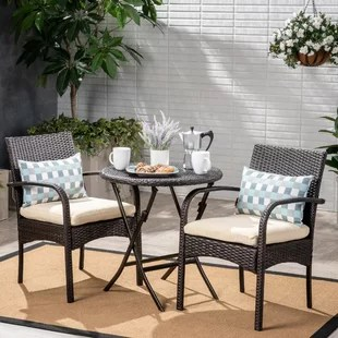 3 piece outdoor table and chairs fishing chair high back patio dining sets you ll love wayfair dereham bistro set with cushions