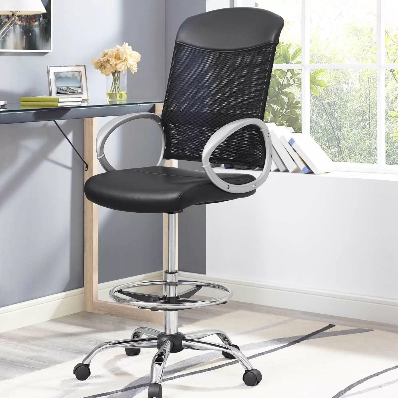 mesh drafting chair wedding covers with arms orren ellis guzzi ergonomic reviews wayfair