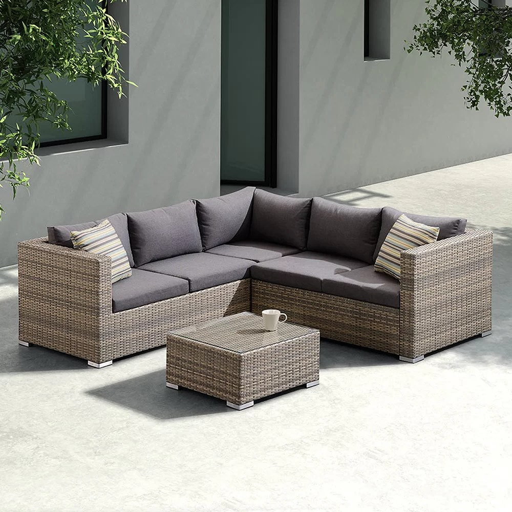 Rattan 3 Piece Sofa Tindall 3 Piece Rattan Sectional Set With Cushions