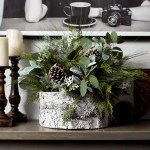 Large Christmas Greenery Frosted Pinecone Centerpiece Arrangement In White Faux Birch Base