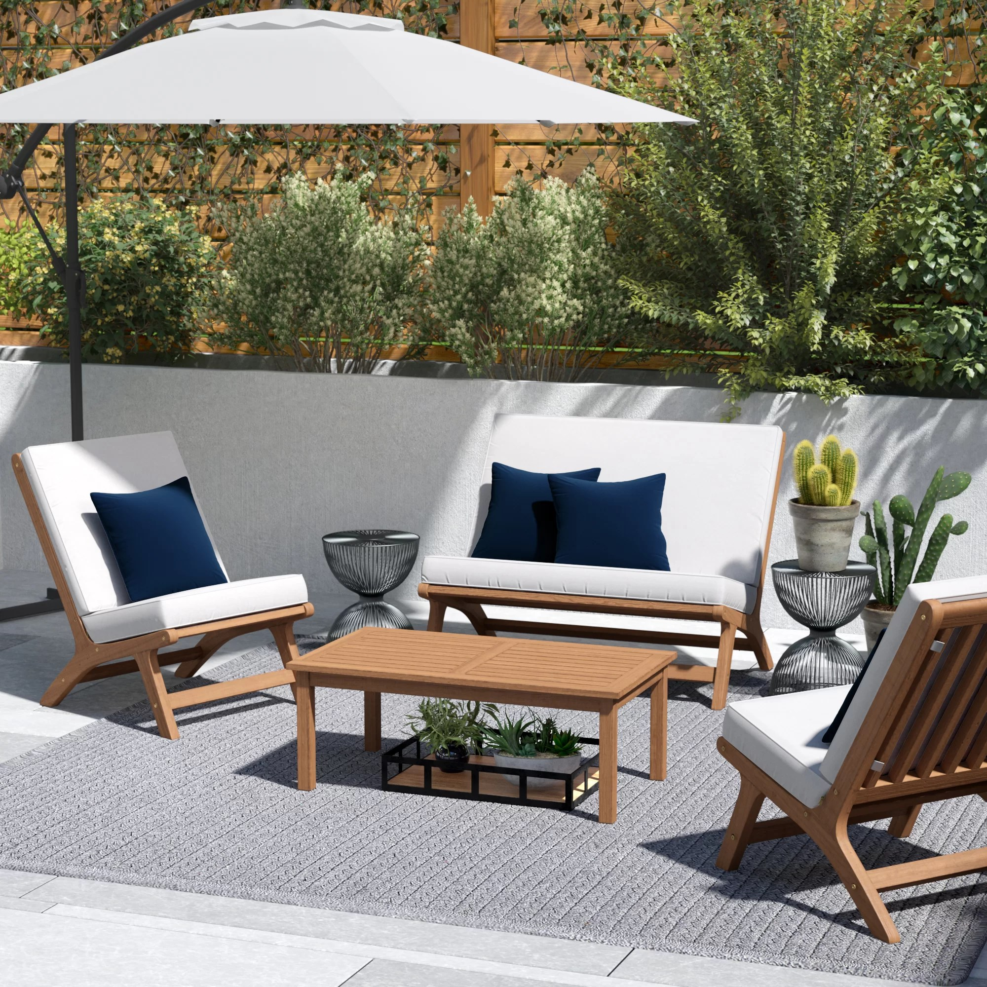 Outdoor Table And Chair Set Cortney 4 Piece Chair Set With Cushions