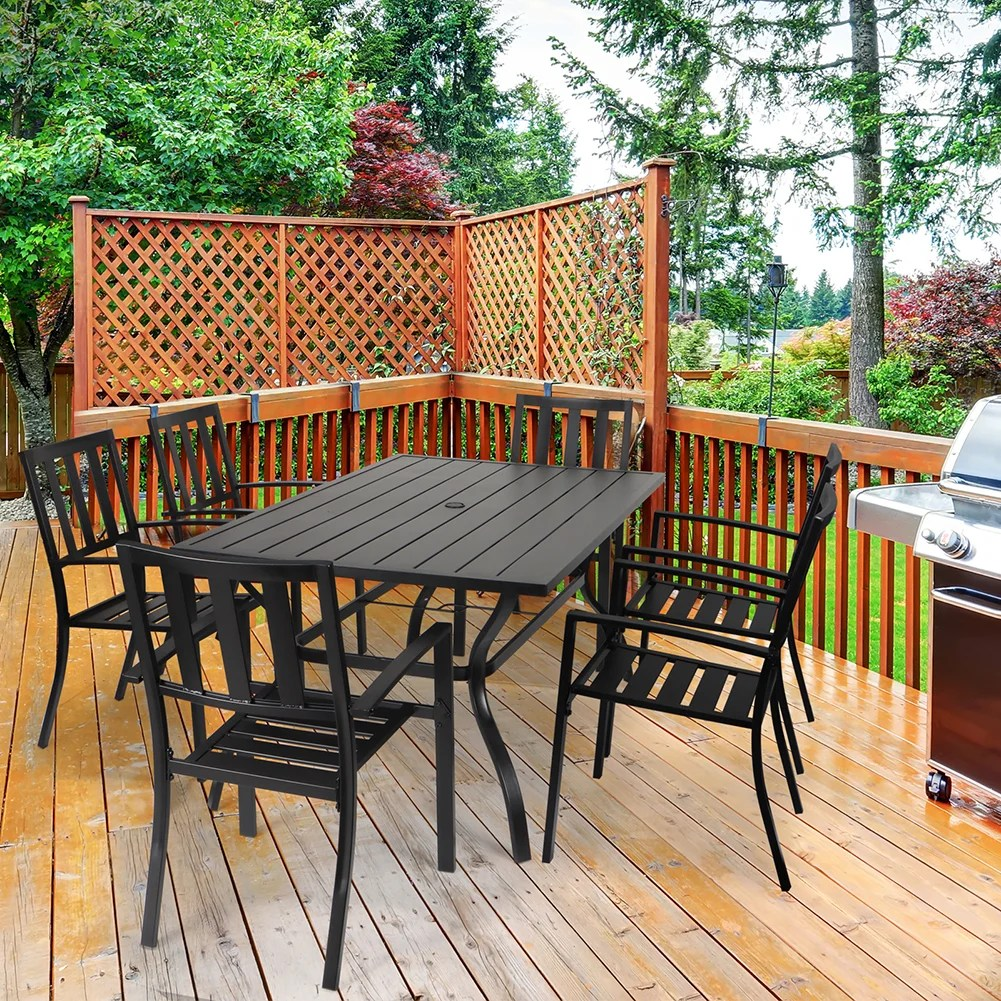 outdoor patio dining table 60 x38 rectangular metal slatted table with umbrella hole