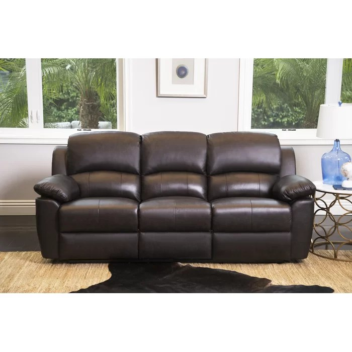 reclining sofa leather brown toy darby home co blackmoor genuine reviews wayfair ca