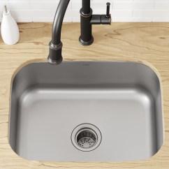 Kraus Kitchen Sinks Aide Kbu12 Stainless Steel 23 L X 18 W Undermount Sink With Drain Assembly